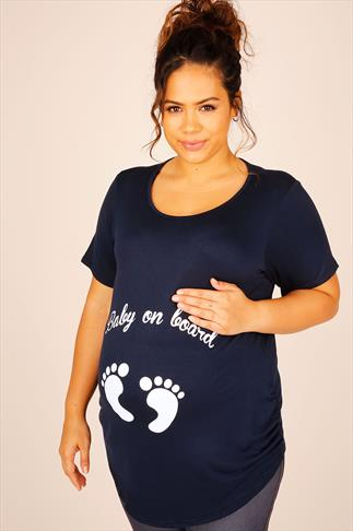 "BUMP IT UP MATERNITY Navy Top With White Glitter ""Baby On Board"" Print"
