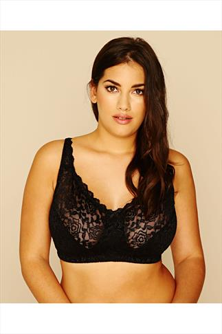 Black Hi Shine Lace Non-Wired Bra