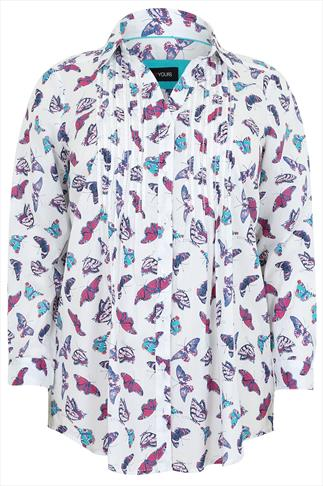 White & Multi Butterfly Print Pinktuck Shirt