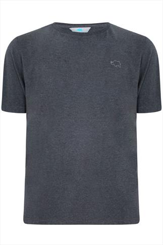 BadRhino Dark Grey Marl Basic Plain Crew Neck T-Shirt - TALL
