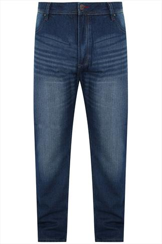 D555 Faded Dark Blue Denim Tapered Jeans