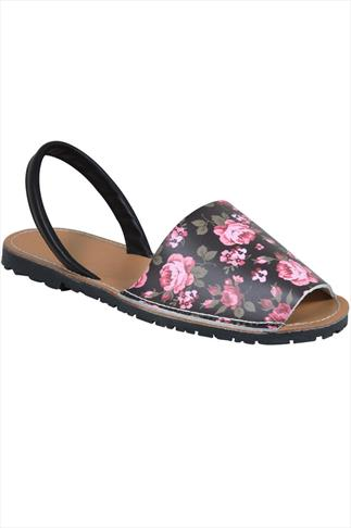 Black Real Leather Floral Peep Toe Sandals In E Fit