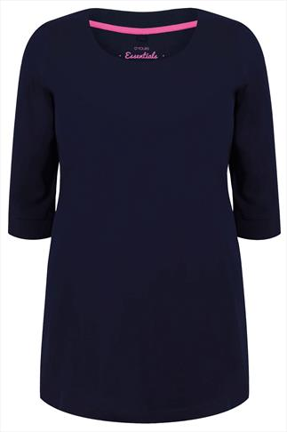 Navy Band Scoop Neckline T-Shirt With 3/4 Sleeves