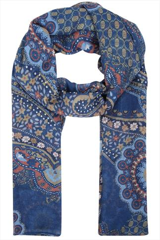 Navy & Yellow Floral Paisley Print Scarf