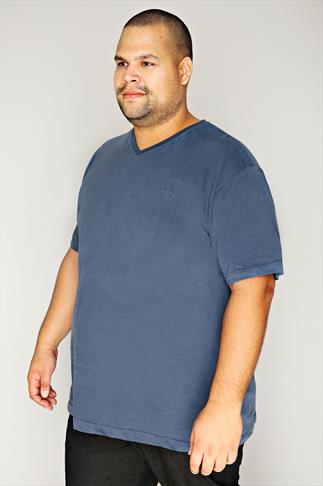 BadRhino Denim Blue Basic Plain V-Neck T-Shirt - TALL