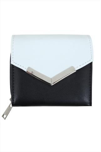 Black & White Purse With Textured Flap And Metal Trim Detail 057261