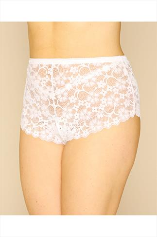Briefs Knickers White Floral All Lace Short 014406