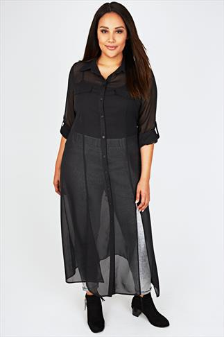 SCARLETT & JO Black Sheer Maxi Shirt Dress With Front Splits