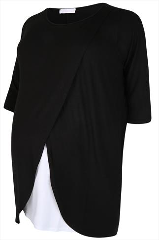 BUMP IT UP MATERNITY Black Nursing Wrap Front Jersey Top