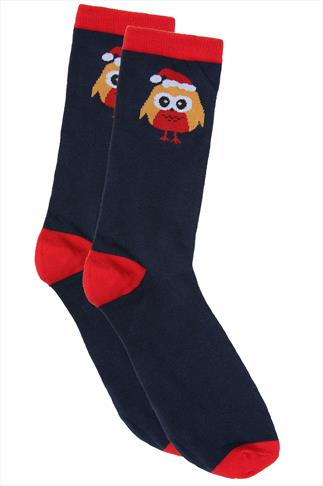 Socks D555 Navy & Red Robin Print Christmas Socks 070566