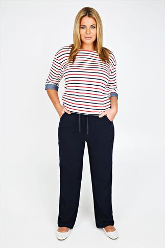 Navy Full Length Cool Cotton Trousers 051048