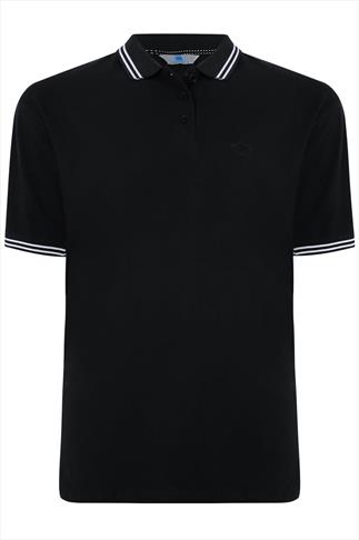 BadRhino Black Polo Shirt With White Stripe Detail - TALL