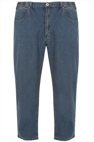 DUKE LONDON Blue Jeans With Elasticated Waist - TALL
