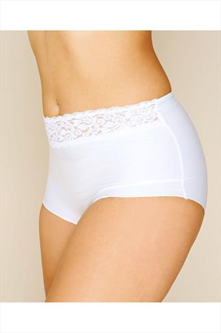 Briefs & Knickers White No VPL Brief With Lace Waist Trim 100158