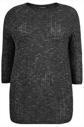 Black & Grey Textured Fine Knit Slouch Top With 3/4 Sleeves