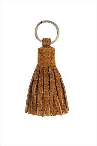Tan Suede Leather Tassel Key Ring