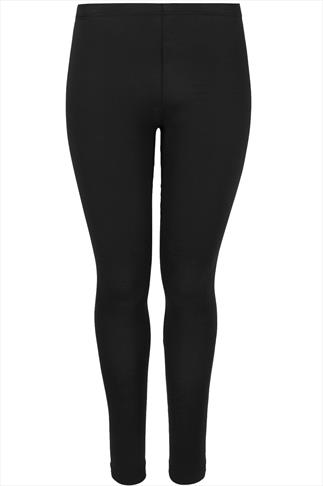 Black Cotton Elastane Leggings