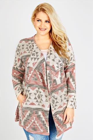 Red, Cream & Black Woven Aztec Print Coatigan