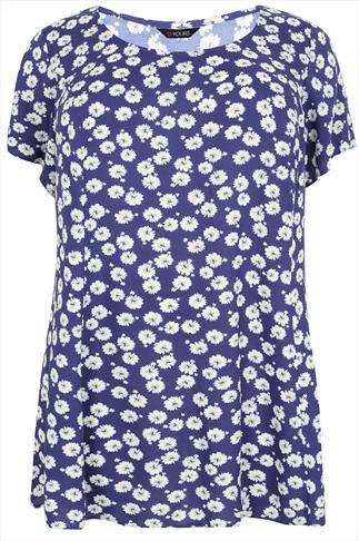Navy & White Daisy Print Longline Swing Top With Pleat Back Detail