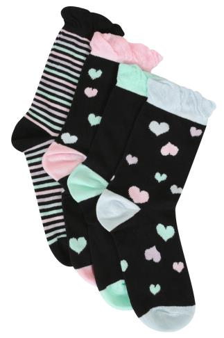 4 PACK Black & Multi Stripe & Heart Print Socks
