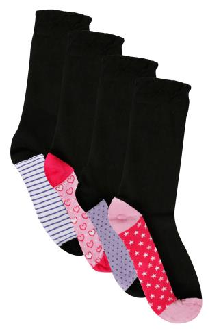 Socks 4 PACK Black, Pink & Purple Printed Heel Toe Socks In Extra Wide Fit 101364