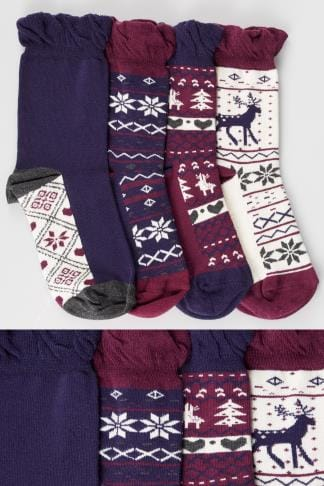 Socks 4 PACK Burgundy, Navy & Cream Fairisle Print Socks 152299