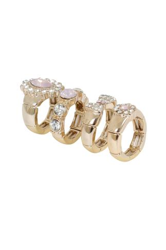 4 PACK Gold & Pink Stone Gem Encrusted Rings