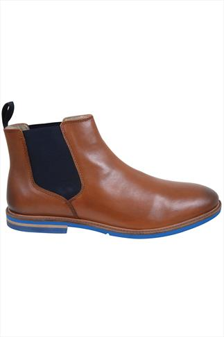 Tan LEATHER Chelsea Boots With Contrast Sole Wide Fit