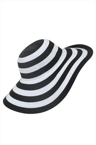 Black & White Stripe Wide Brimmed Straw Hat