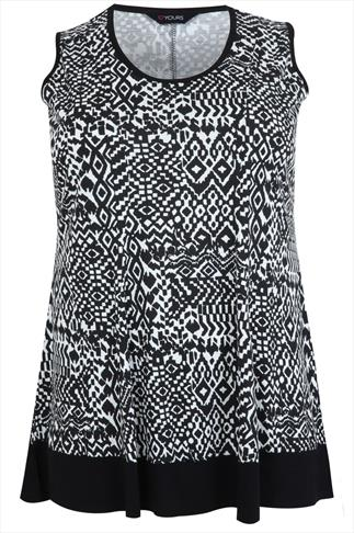 Black & White Ikat Sleeveless Peplum Top With Contrast Border