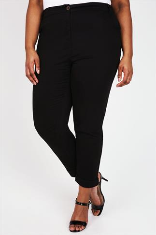 Cool Cotton Trousers Black Chino Trousers With Turn Back Cuffs 055872