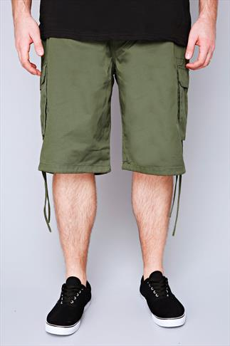 NOIZ Olive Green Cotton Cargo Shorts With Pockets