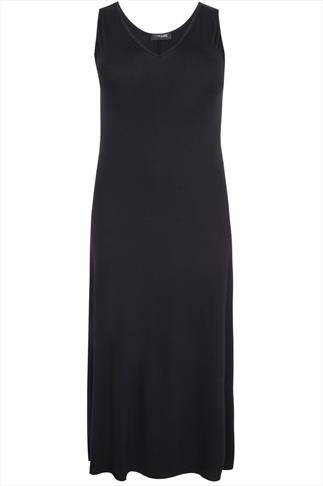 Black Plain V-Neck Sleeveless Jersey Maxi Dress