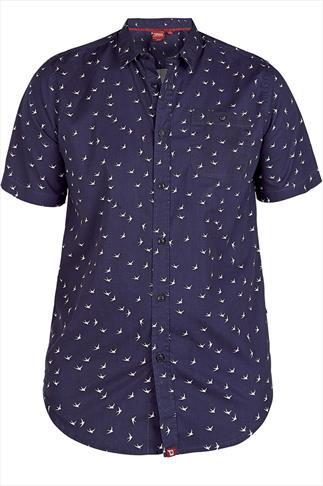 D555 Navy & White Swallow Print Short Sleeve Shirt