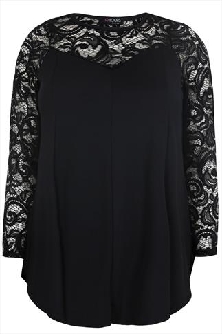 Black Jersey Peplum Top With Lace Yoke