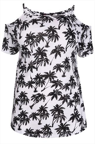 Black & White Palm Tree Print Cold Shoulder Jersey Top