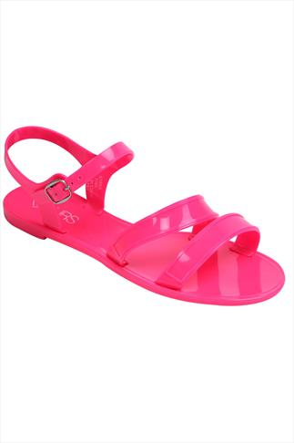Fluorescent Pink Two Strap Jelly Sandals In EEE Fit