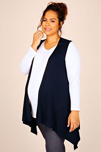 BUMP IT UP MATERNITY Navy Waterfall Longline Sleeveless Shrug