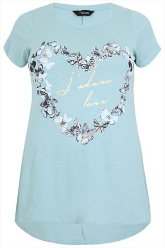 "Light Blue Short Sleeve ""J'ador Love"" Printed T-Shirt"