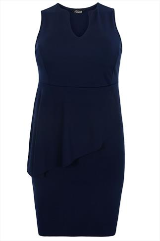 Navy Sleeveless Peplum Shift Dress With V-neckline