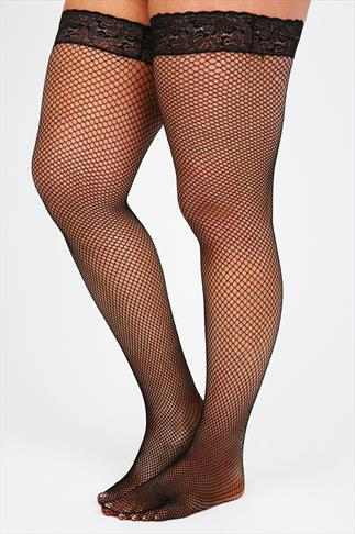 Stockings & Hold Ups Black Fish Net Lace Top Hold Ups 036781