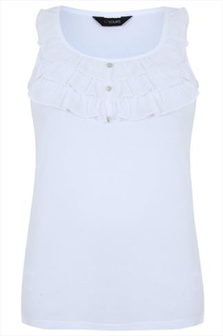 White Cotton Vest With Chiffon Frill & Button Detail