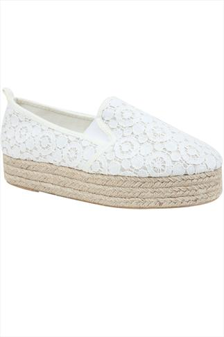 White Crochet Flatform Espadrille In E Fit