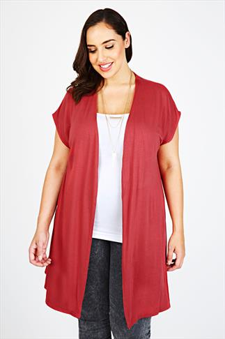 Burgundy Extended Shoulder Jersey Cardigan