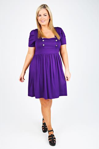 Purple Tunic Dress With Military Button Detail
