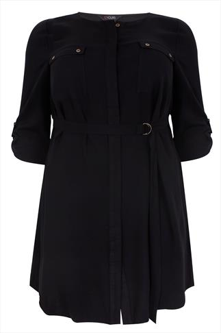 Black Utility Style D-Ring Shirt Dress With Pocket Detail