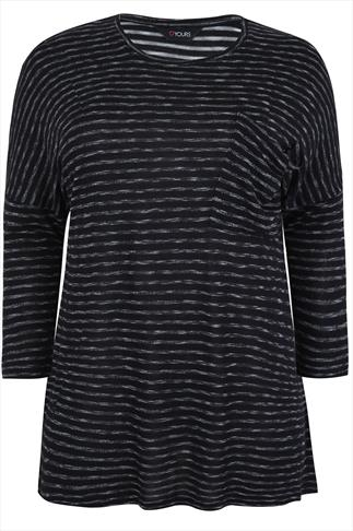 Black & Grey Space Dye Fine Knit Top With Dropped Pocket