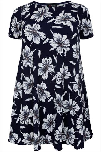 Navy & White Floral Print Swing Dress