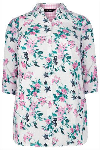 White, Pink & Green Floral Print Cotton Dobby Shirt