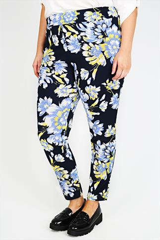 Navy, Blue & Yellow Floral Print Cigarette Trousers
